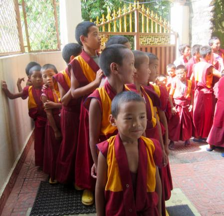 Monks at the Triten Norbuste Monastery in Kathmandu waiting to be treated by Humla Fund volunteers.