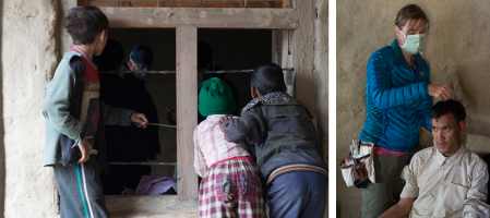 Children peeking into the windows of Humla Fund's medical clinic. | Man receiving acupuncture treatment.
