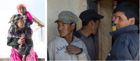 Tibetan mother with child on her shoulders. | Three Humli men at the medical clinic.