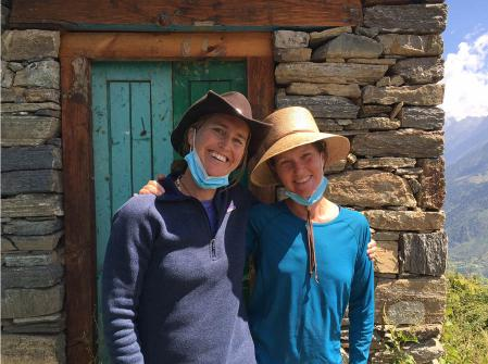 Heidi Harding and volunteer outside the clinic in Humla.