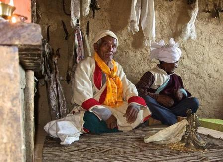 Shamans in their temple. Humla Fund rebuilt the shaman temples in the villages of Nyimatang and Burause in 2016.
